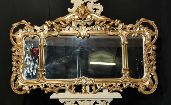 English Chippendale Gilt Mantle Mirror Rococo Landscape Mirrors