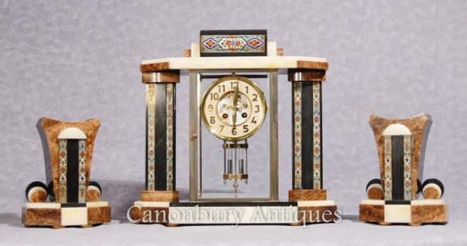 French Antique Art Deco Mantle Clock Cloisonné Garniture Set