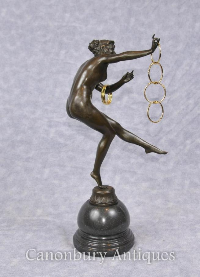 French Art Deco Bronze Hoop Dancer Statue Figurine Paris