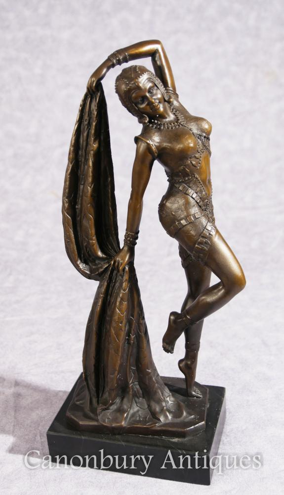 French Art Nouveau Bronze Dancer Signed Leonard