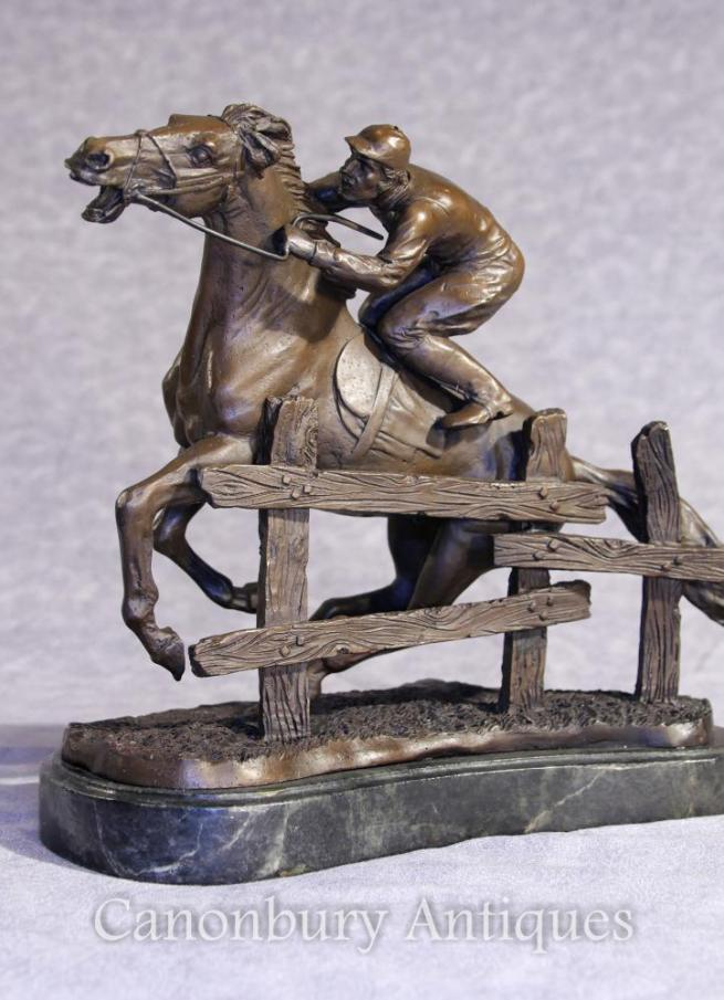 French Bronze Steeplechase Horse and Jockey Statue