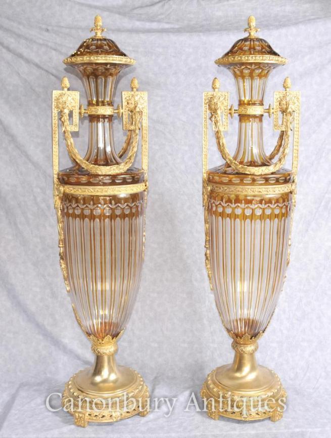 French Empire Gut Glass Urns Vases Amphora Form Ormolu Mounts