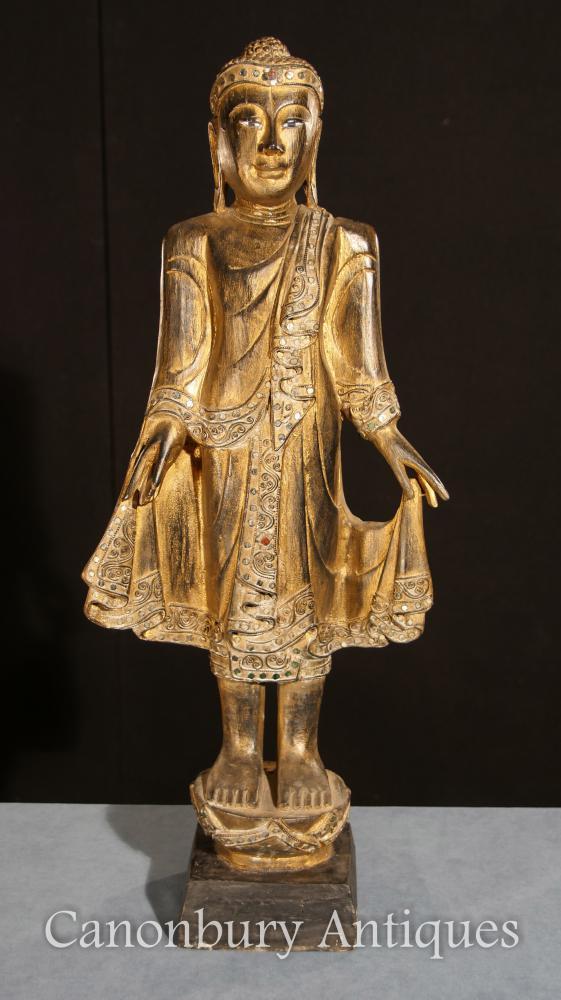 Gilded Hand Carved Standing Buddha Statue Tibetan Buddhist Art