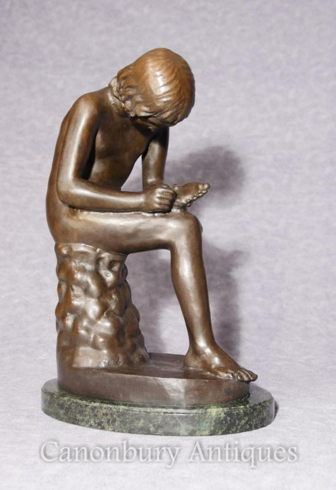 Italian Bronze Statue Spanario Classica Boy Thorn Foot Figurine Signed
