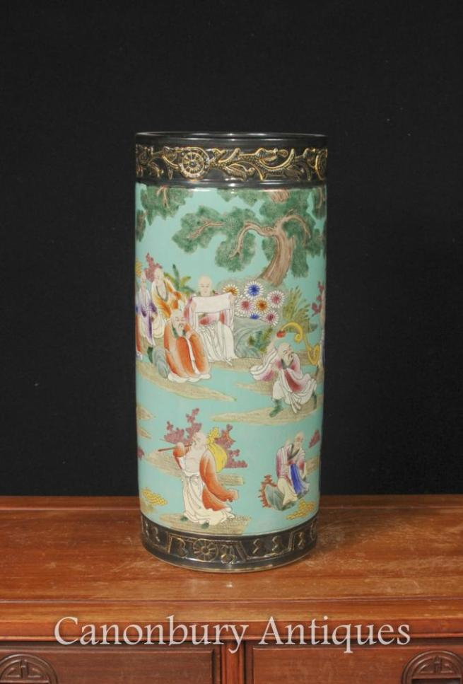 Japanese Famile Jaune Porcelain Umbrella Stand Vase Urn