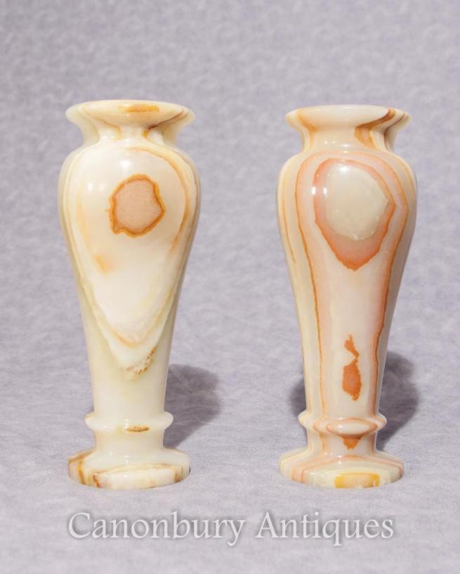 Pair Antique Italian Onyx Marble Urns Vases 1930
