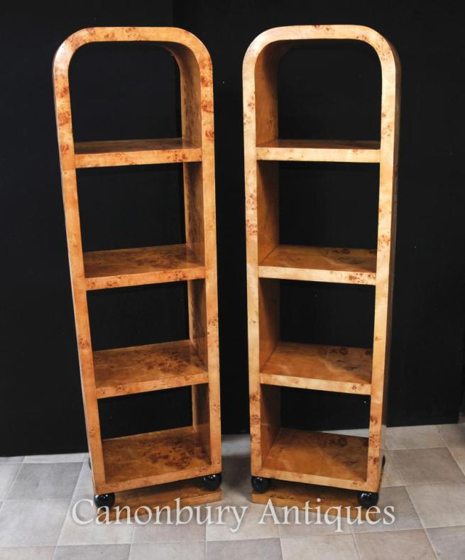 Pair Art Deco Bookcases Shelf Units Blonde Walnut Furniture