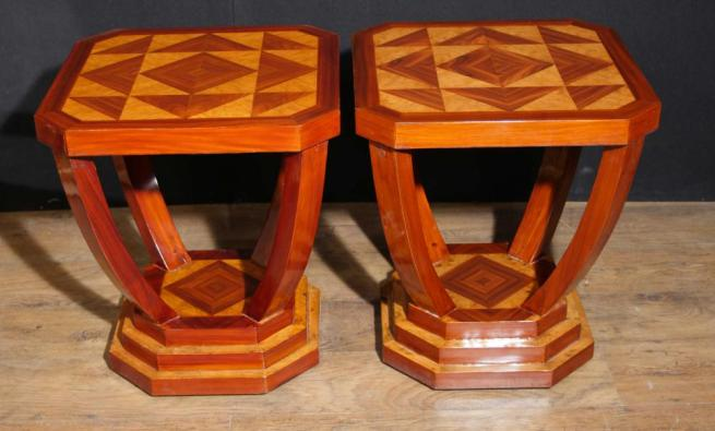 Pair Art Deco Side Tables Lozenge Inlay