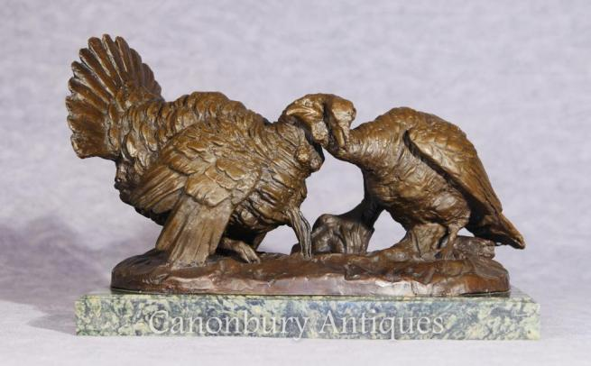 Pair Bronze Turkeys Thanksgiving Fowl Statue Casting