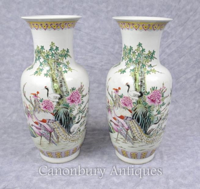 Pair Chinese Celadon Porcelain Vases Birds of Paradise Painted