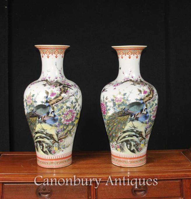 Pair Chinese Doucai Porcelain Vases Urns Pheasant Paintings