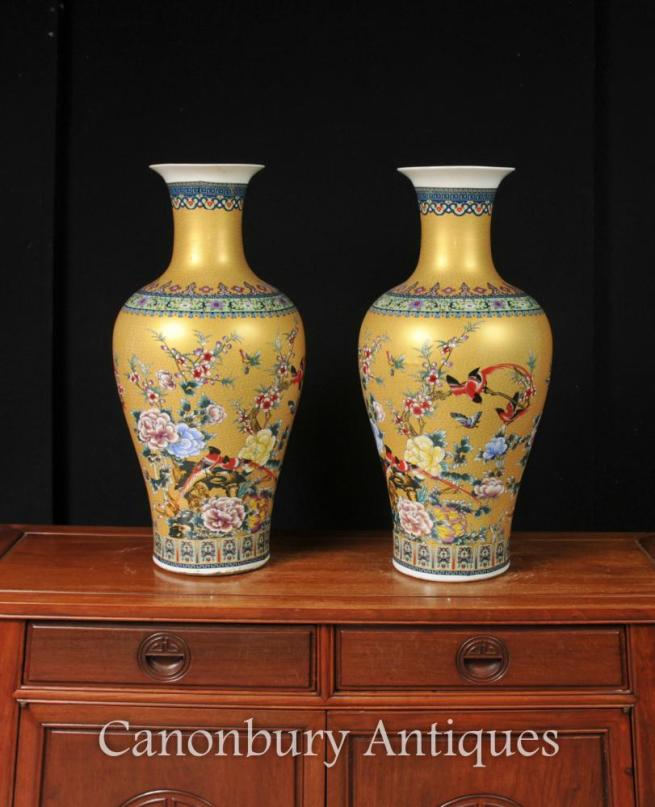 Pair Chinese Famile Jaune Porcelain Vases Bird Urns Arabesques