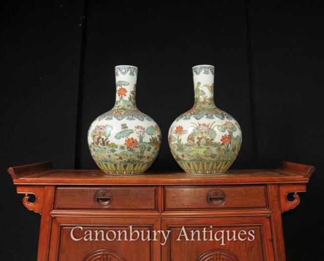 Pair Chinese Famille Vert Ceramic Vases Urns Shangping Porcelain