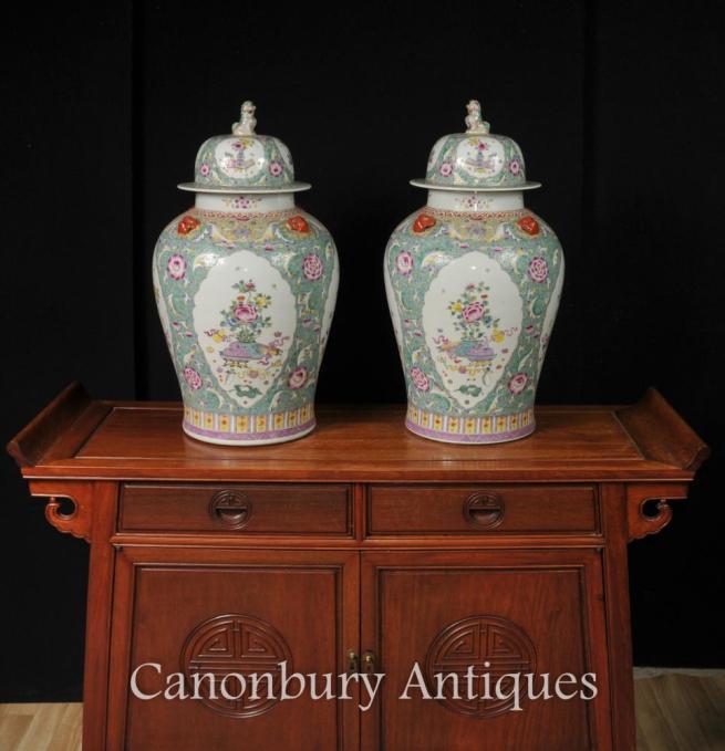 Pair Chinese Famille Vert Porcelain Ginger Jars Temple Urns Vases