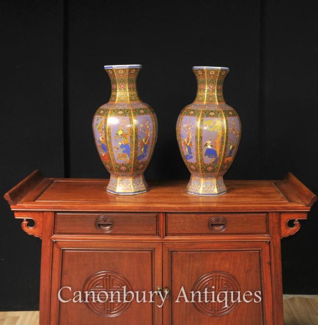 Pair Chinese Imari Porcelain Vases Urns Arabesques