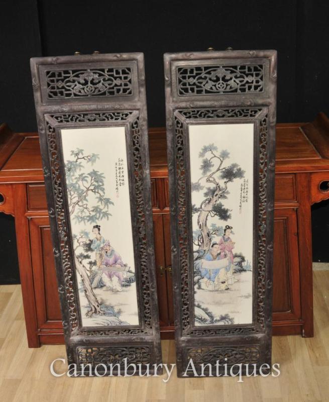 Pair Chinese Kangxi Porcelain Plaques Screens Hardwood Frame