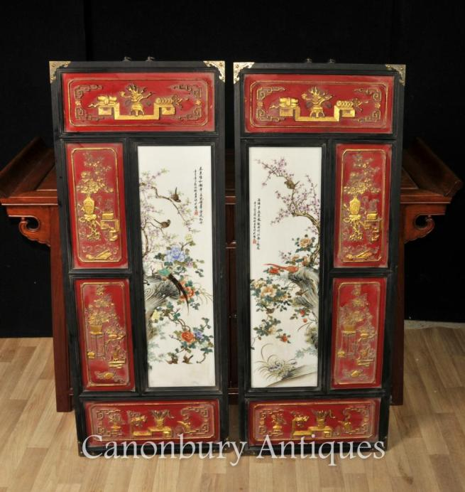Pair Chinese Qianlong Ceramic Plaques Pictures Hand Painted Porcelain