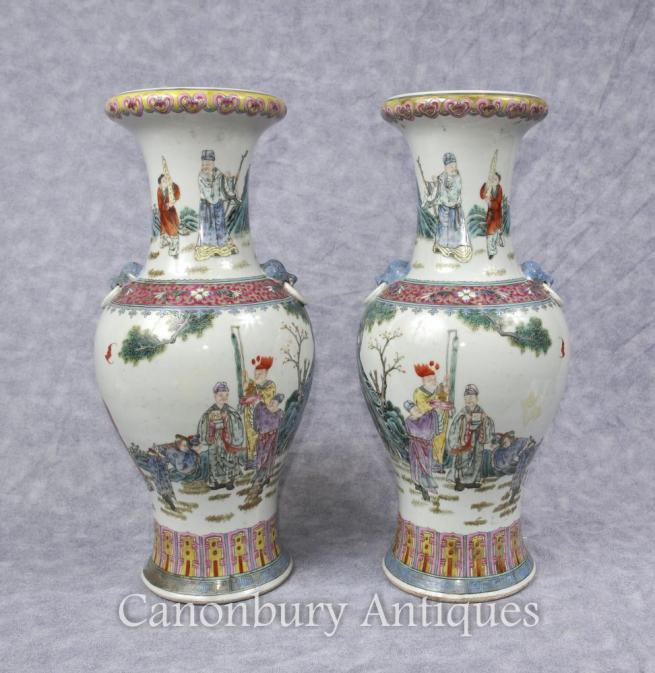 Pair Chinese Qianlong Porcelain Vases Lions Head Handles