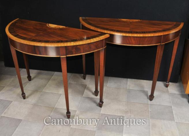 Pair Flame Mahogany Hepplewhite Console Tables Satinwood Inlay
