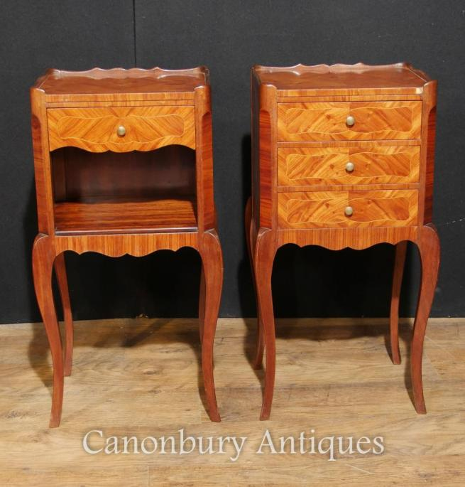 Pair French Antique Empire Bedside Cabinets Kingwood Nightstands 1930
