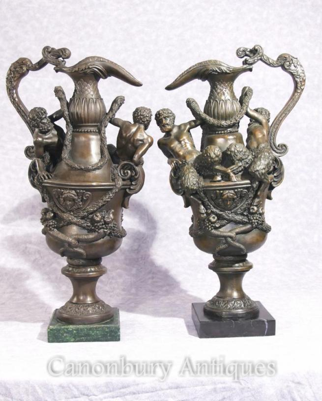 Pair French Bronze Jugs Tankards Classical Fawn Urns Jars