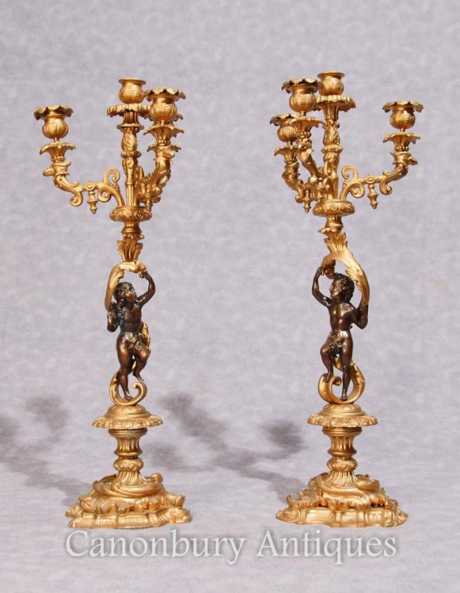 Pair French Empire Antique Ormolu Candelabras Dore Cherub Candles