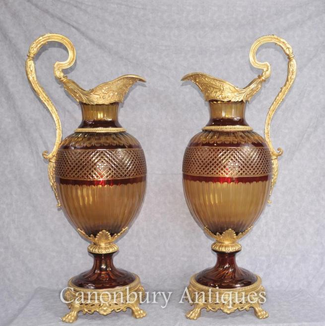 Pair French Empire Cut Glass Urns Vases Classical Campana Planter