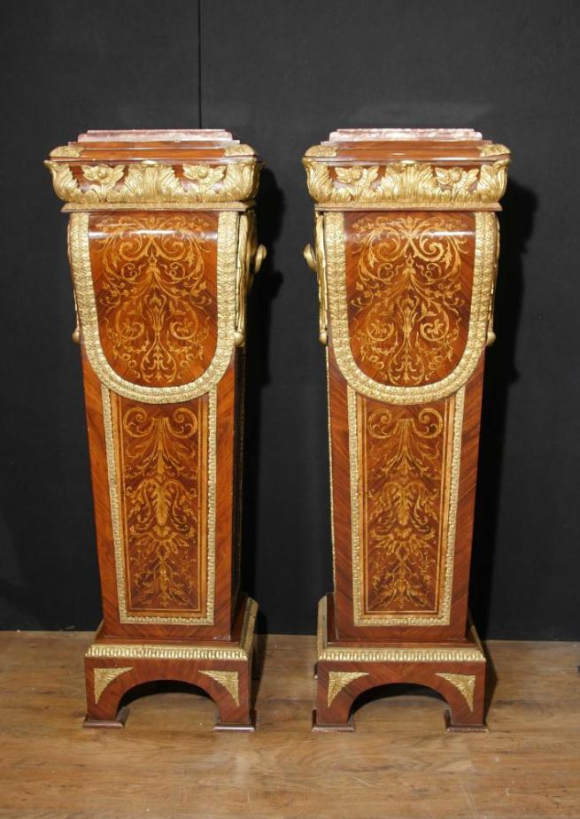 Pair French Empire Kingwood Pedestal Table Stands Marquetry Inlay