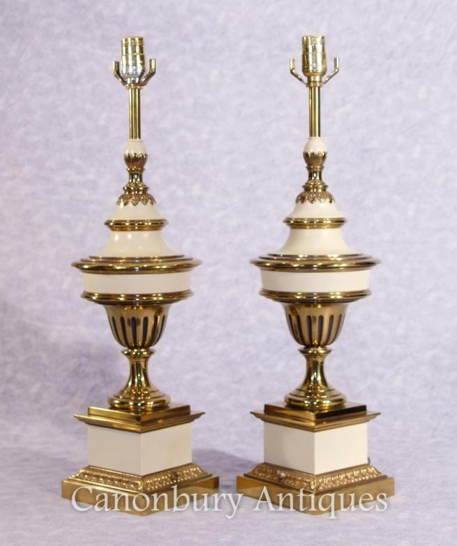 Pair French Empire Ormolu Porcelain Lamp Bases Table Lamps Stiffel