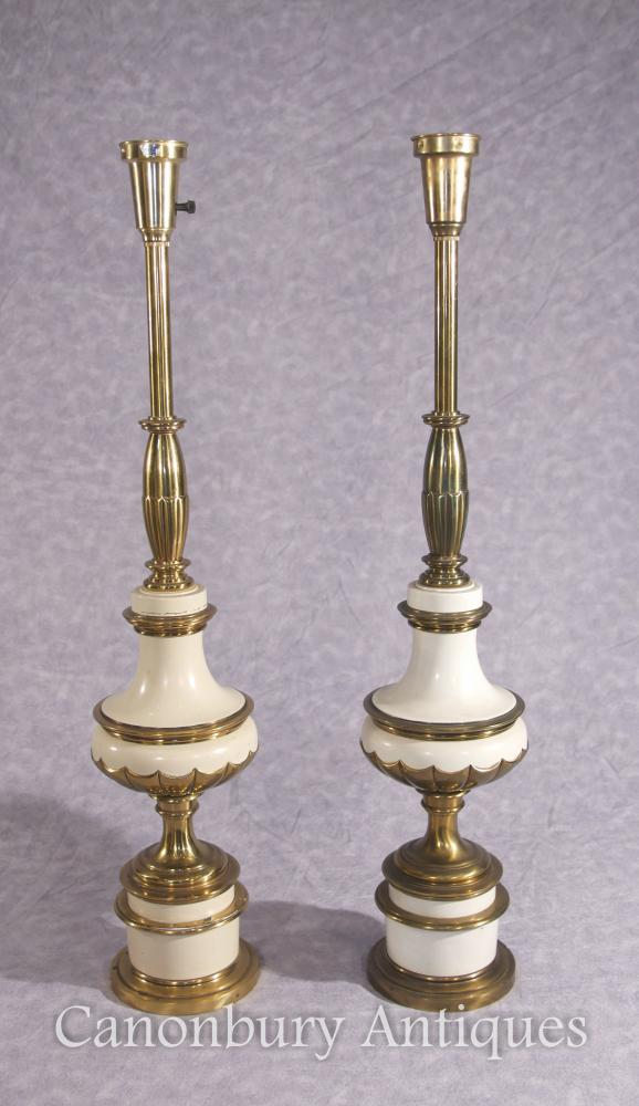 Pair French Empire Porcelain Lamp Bases Table Lights