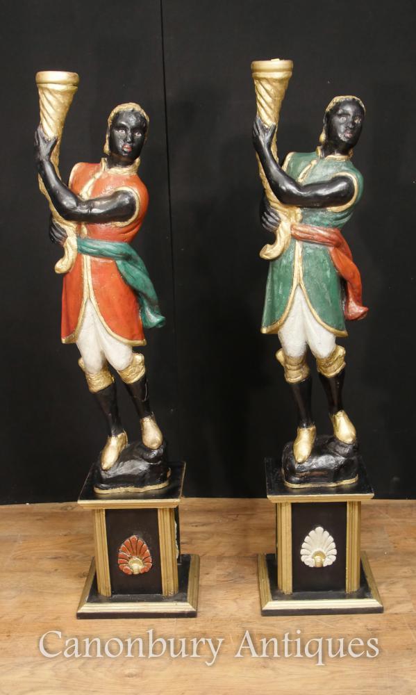Pair Italian Venetian Blackamoor Figures Painted Circa 1930 Torcheres