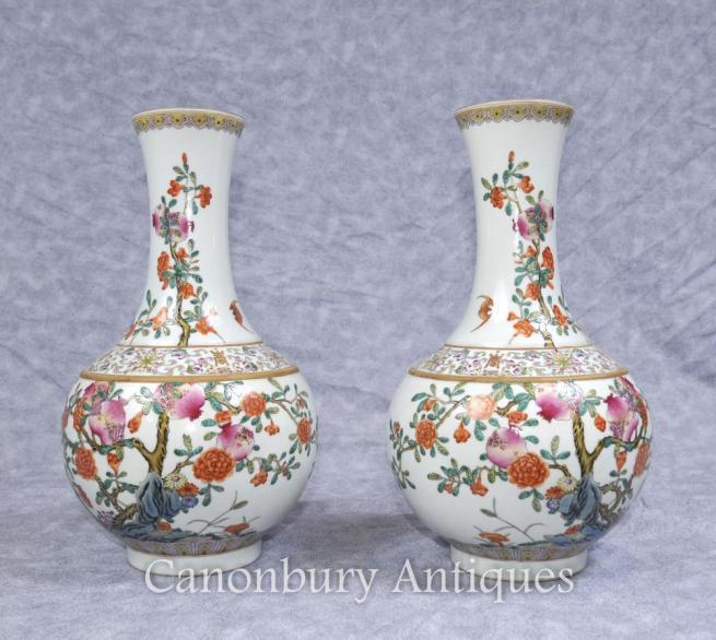 Pair Japanese Arita Porcelain Bulbous Floral Urns Vases