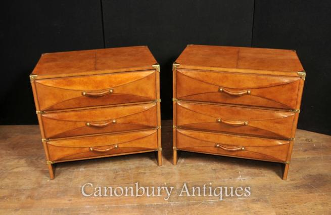 Pair Leather Art Deco Chests of Drawers Campaign Nightstands