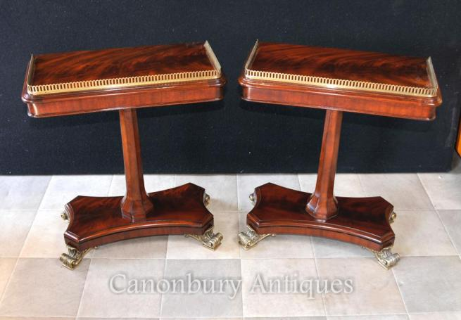 Pair Regency Side End Tables Flame Mahogany Furniture