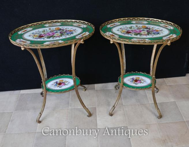 Pair Sevres Porcelain Ormolu Oval Side Cocktail Tables Floral Tops