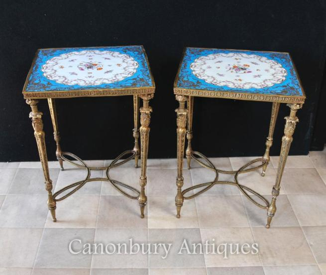 Pair Sevres Porcelain Side Tables Ormolu French Floral Spray