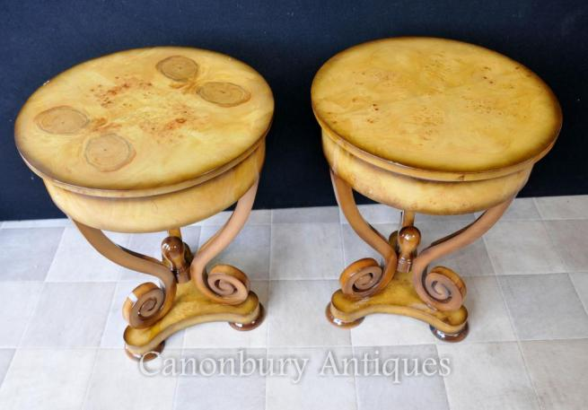 Pair Walnut French Empire Side Tables Cocktail Table