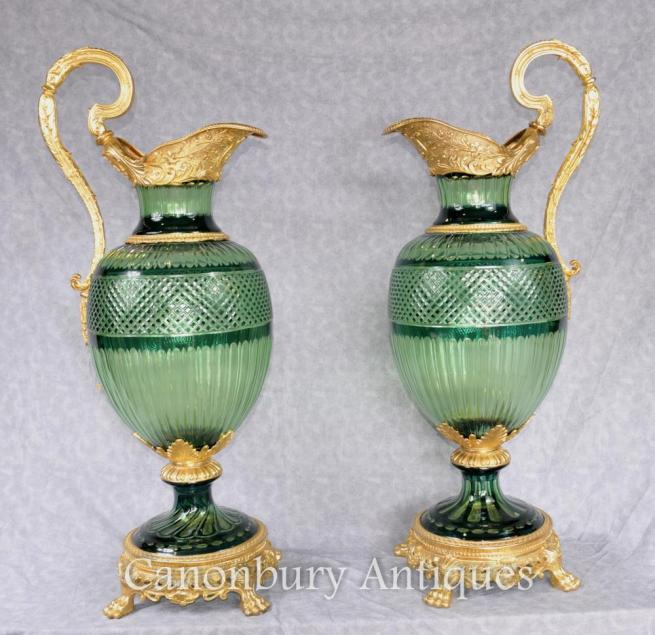 Pair XL French Empire Cut Glass Jugs Ewers Ormolu Mounts