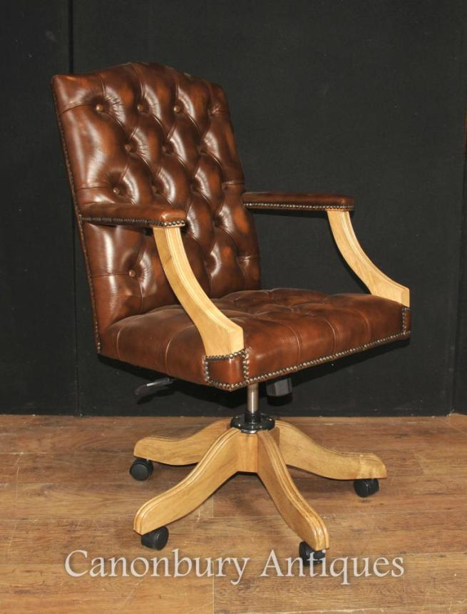 Regency Captains Office Desk Chair Arm Chair Deep Button Leather