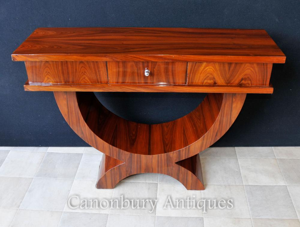 rosewood art deco console table ogee curved tables