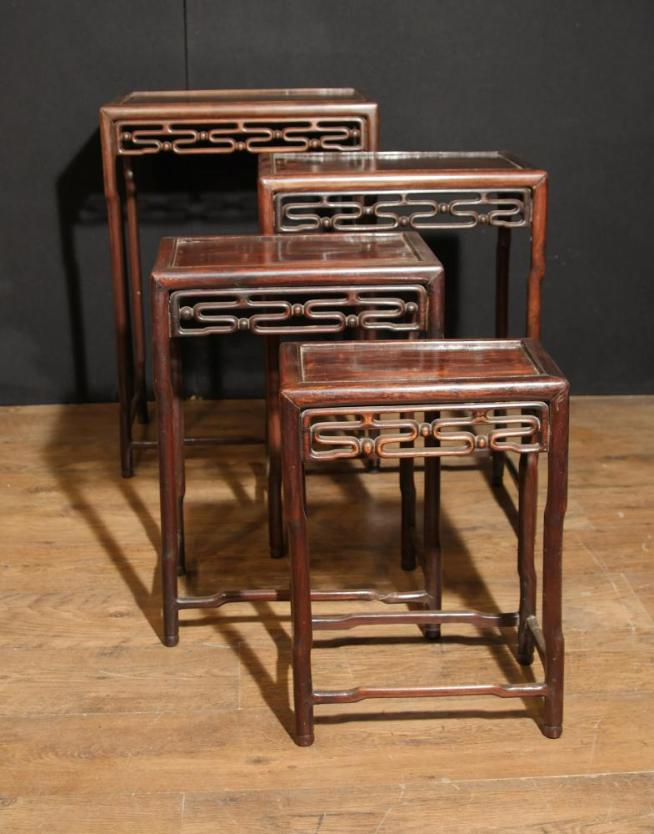 Set 4 Chinese Antique Hard Wood Nest Tables Side Table
