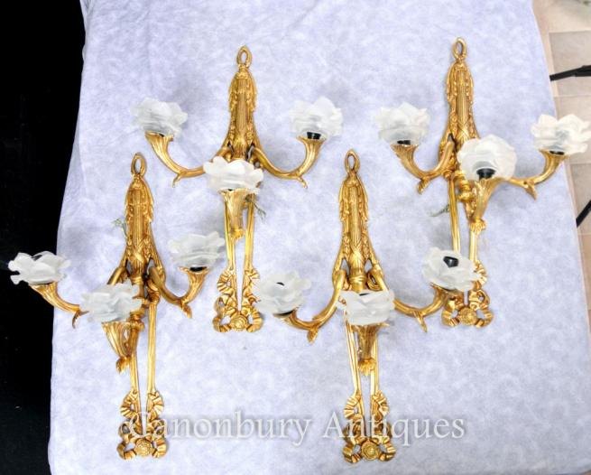 Set 4 French Louis XVI Ormolu Sconces Wall Lights