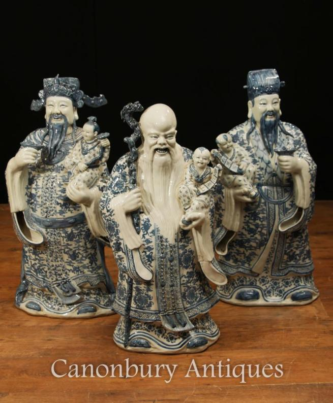 Set Chinese Blue and White Nanking Porcelain Wise Men Figurines
