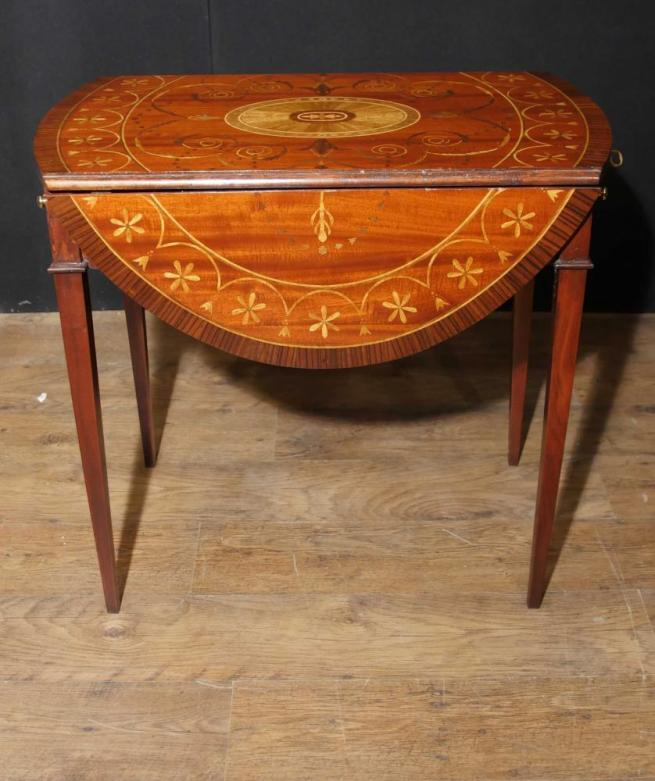 Sheraton Mahogany Pembroke Table Drop Leaf Tables Marquetry Inlay