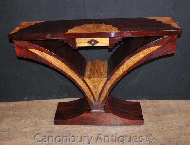 Art Deco Console Table Scallop Inlay Furniture