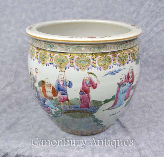 Chinese Qianlong Porcelain Planter Bowl Hand Painted