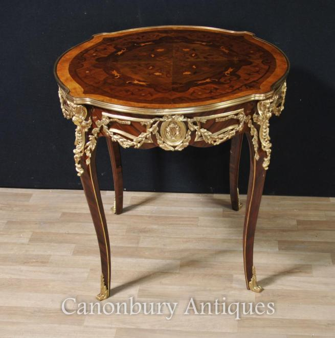 French Louis XVI Round Center Table Centre Side Tables