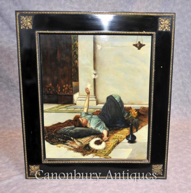 German Porcelain KPM Odalisque Female Portrait Oil Painting Plaque Plate