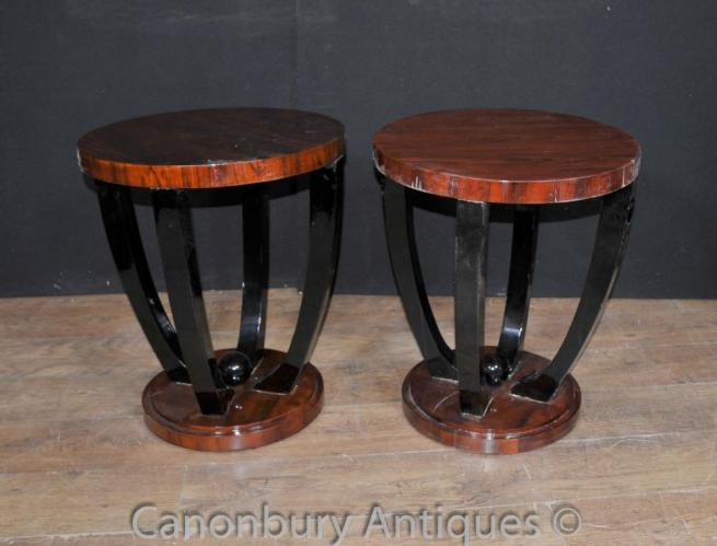 Pair Art Deco Side Tables Cocktail Furniture