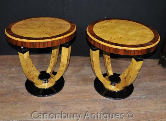 Pair Art Deco Side Tables Cocktail Table 1920s Furniture